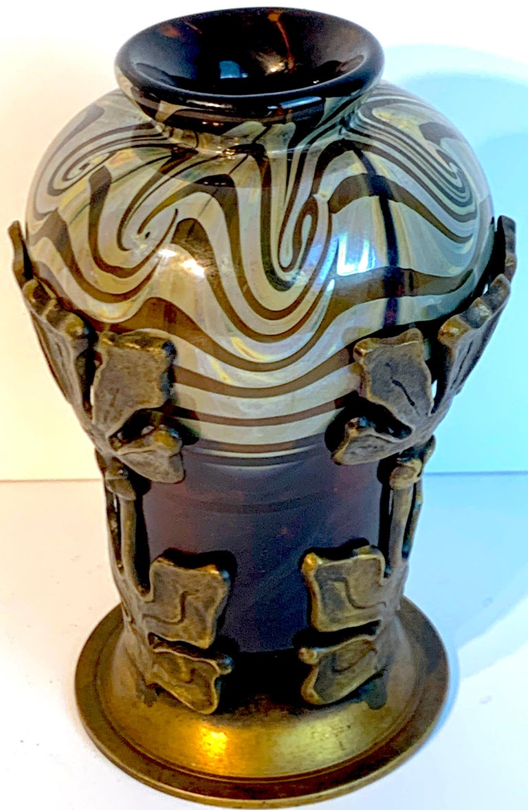 Art Nouveau Bronze Mounted Loetz Vase, Stamped Made in Austria For Sale 5