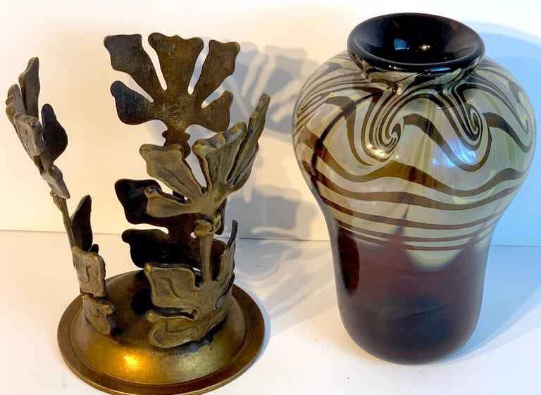 Art Nouveau bronze mounted Loetz vase, stamped made in Austria', in two parts the vase with beautiful pulled feather decoration. The bronze frame with stylized floral design, stamped 'Made in Austria'.