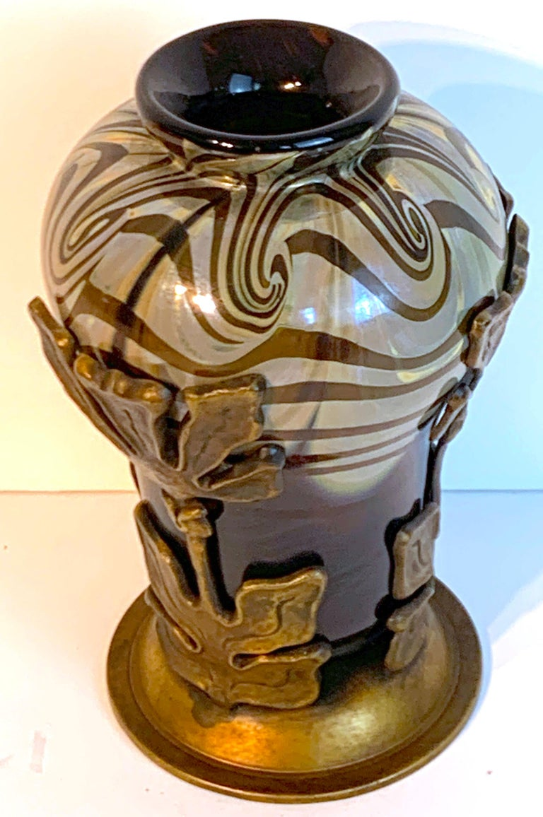 Art Nouveau Bronze Mounted Loetz Vase, Stamped Made in Austria In Good Condition For Sale In Oaks, PA