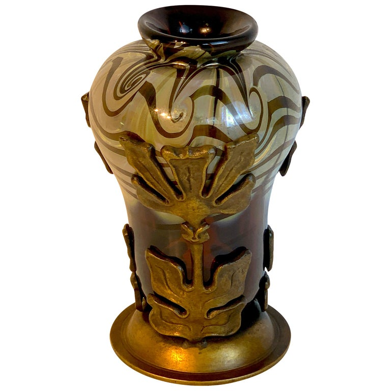 Art Nouveau Bronze Mounted Loetz Vase, Stamped Made in Austria For Sale