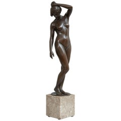 Art Nouveau Bronze Nude, Signed by the Artist and Foundry, German, circa 1920