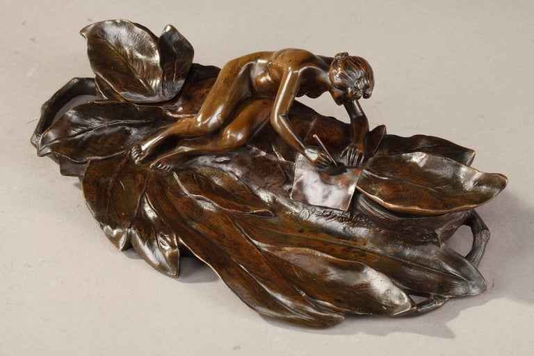 French Art Nouveau Bronze Sculpture and Inkwell by Karl Korschann For Sale
