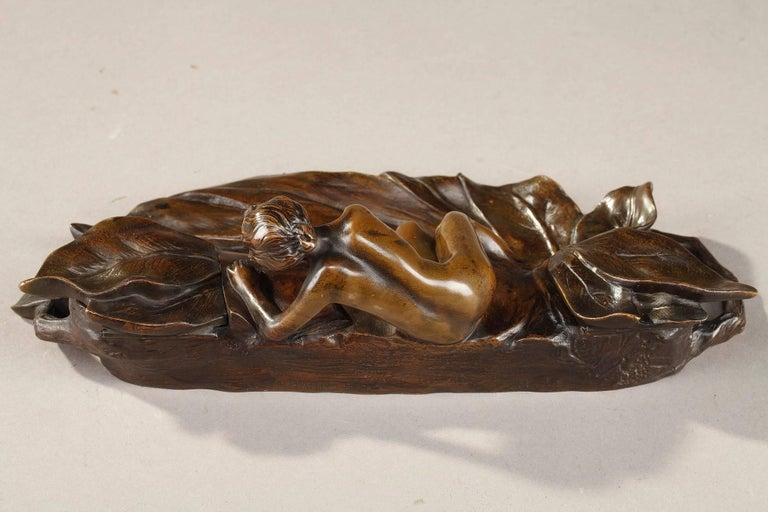 Patinated Art Nouveau Bronze Sculpture and Inkwell by Karl Korschann For Sale