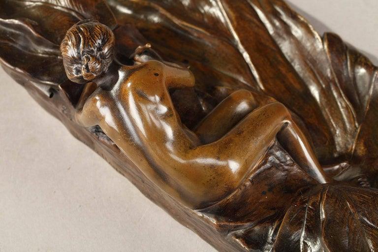 19th Century Art Nouveau Bronze Sculpture and Inkwell by Karl Korschann For Sale