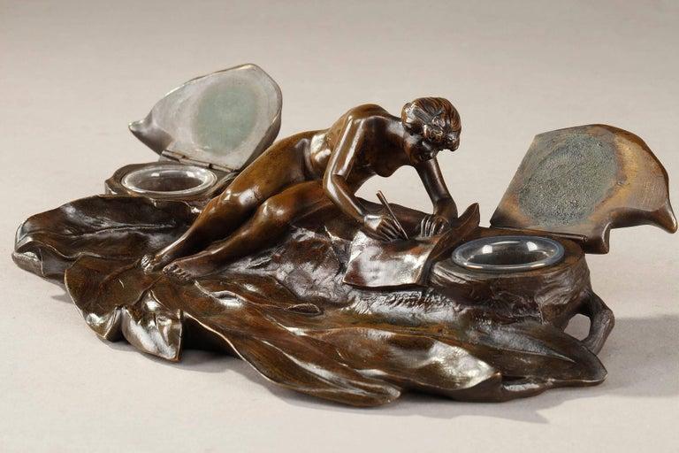 Art Nouveau Bronze Sculpture and Inkwell by Karl Korschann For Sale 2