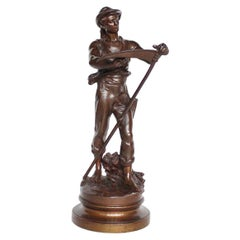 Art Nouveau Bronze Sculpture by Mathurin Moreau Signed and Stamped, circa 1890