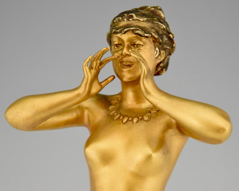 Art Nouveau Bronze Sculpture Calling Nude Lady Alfred Grevin and Friedrich Beer 6