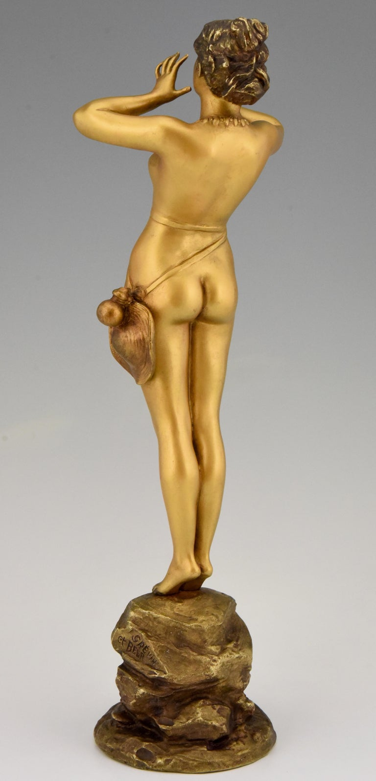 Patinated Art Nouveau Bronze Sculpture Calling Nude Lady Alfred Grevin and Friedrich Beer