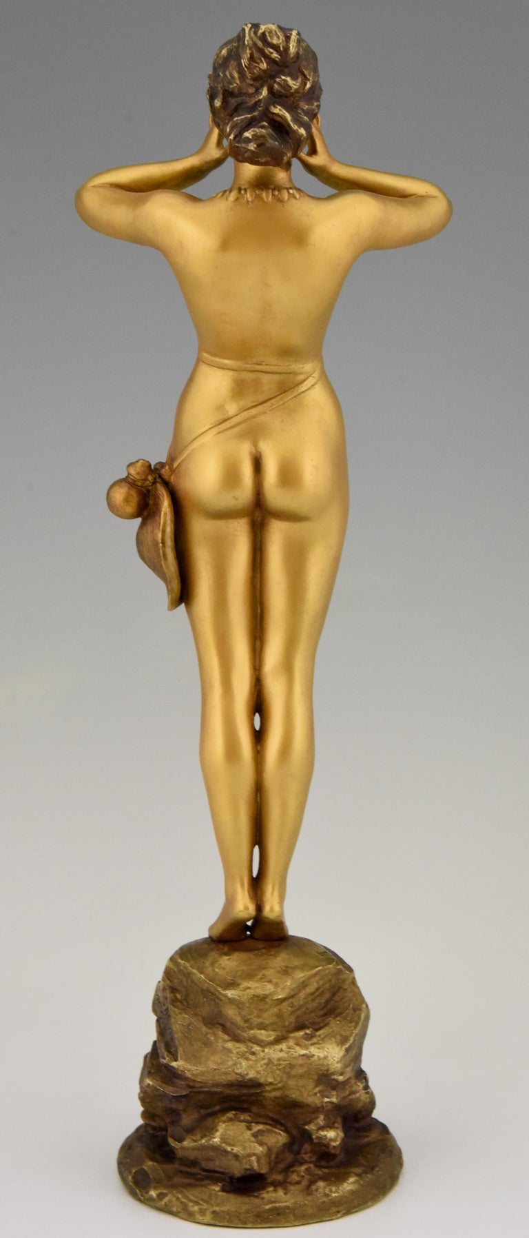 Art Nouveau Bronze Sculpture Calling Nude Lady Alfred Grevin and Friedrich Beer In Good Condition In Antwerp, BE