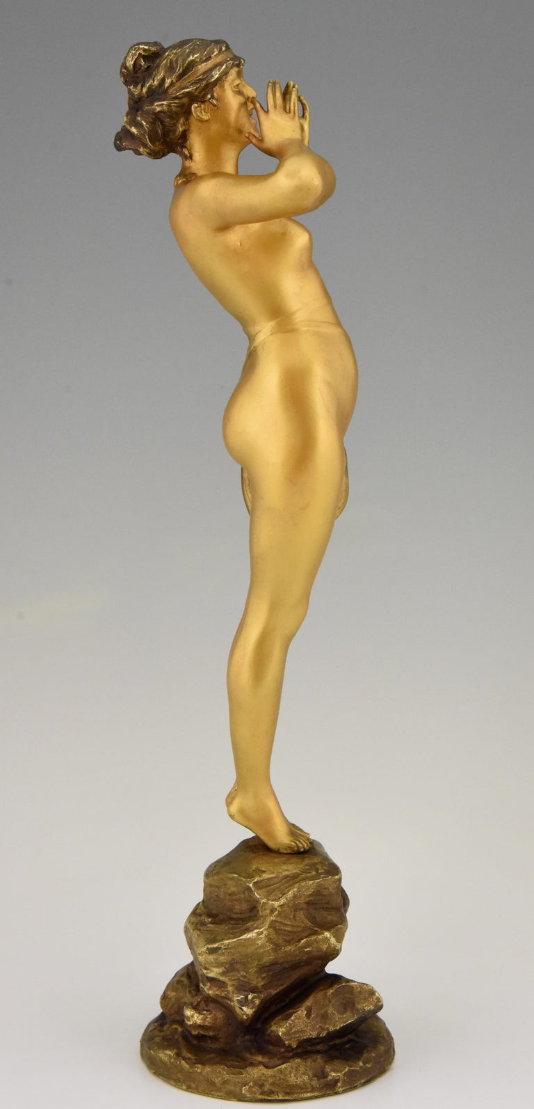 19th Century Art Nouveau Bronze Sculpture Calling Nude Lady Alfred Grevin and Friedrich Beer
