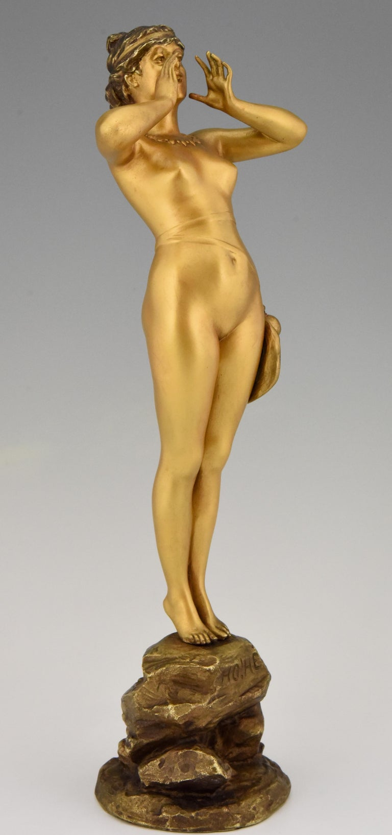 Art Nouveau Bronze Sculpture Calling Nude Lady Alfred Grevin and Friedrich Beer 1