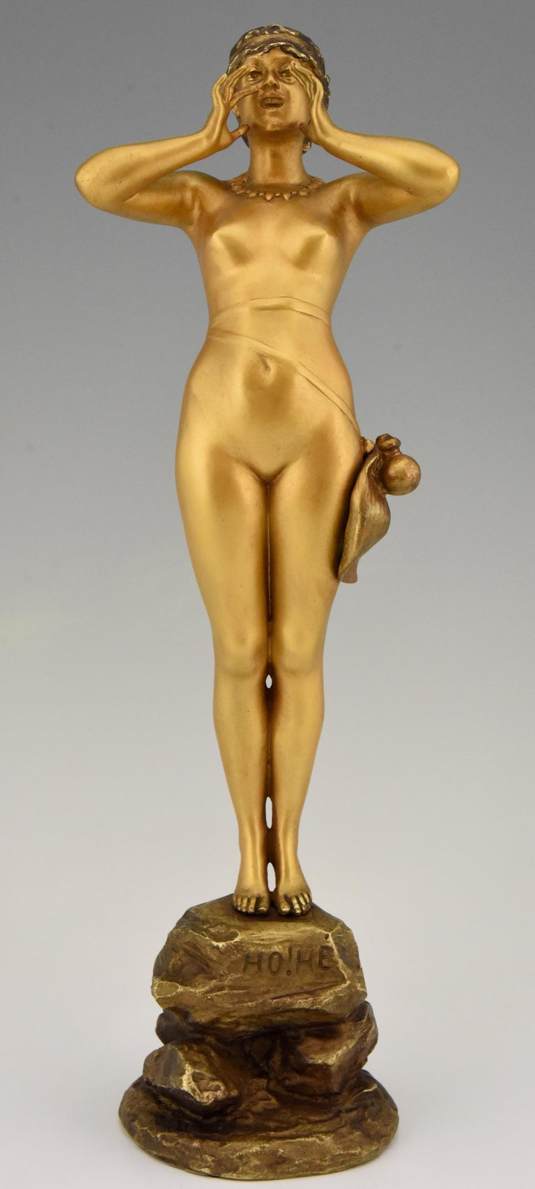 Art Nouveau Bronze Sculpture Calling Nude Lady Alfred Grevin and Friedrich Beer 2