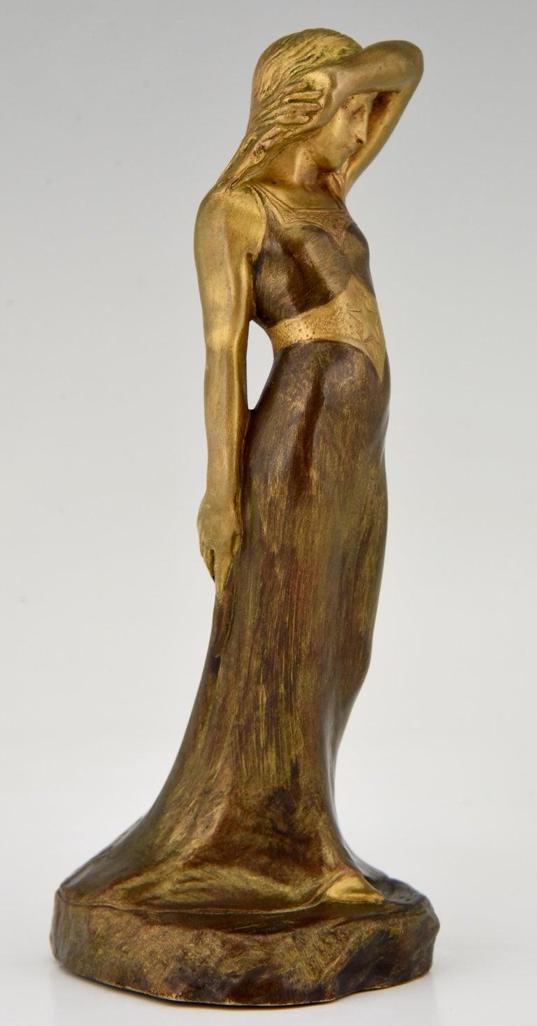 20th Century Art Nouveau Bronze Sculpture Lady Sarah Bernhardt Harald Sorensen Ringi, 1899 For Sale