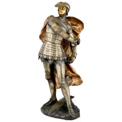 Art Nouveau Bronze Sculpture of a Knight in Armor, Lucas Madrassi
