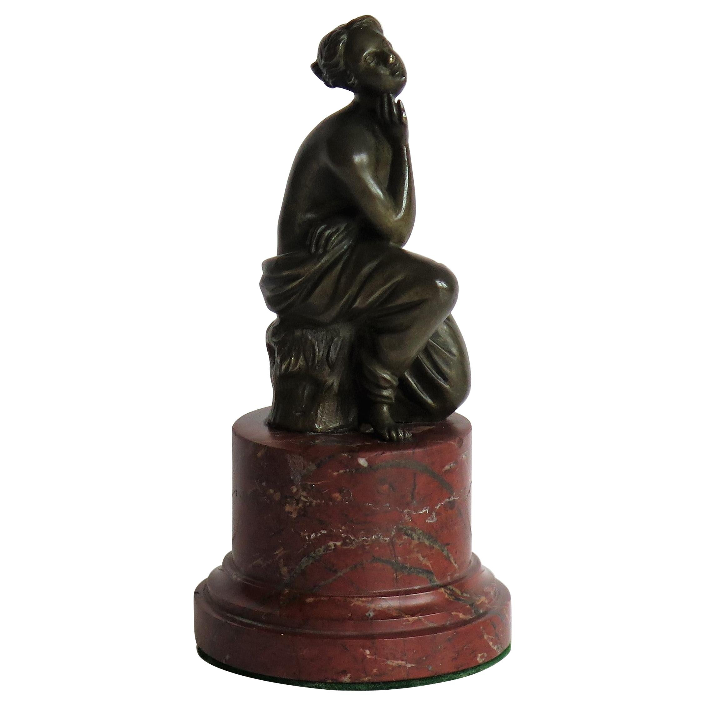 19thC. Art Nouveau Bronze Sculpture of Lady on Red Marble Base, Probably French
