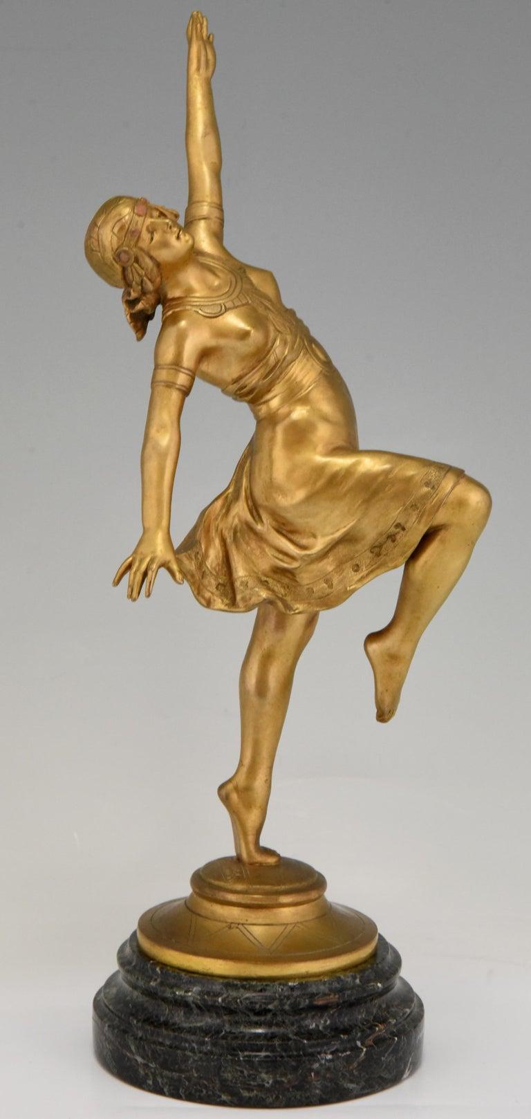 French Art Nouveau Bronze Sculpture Oriental Dancer Jean Garnier, France, 1900 For Sale