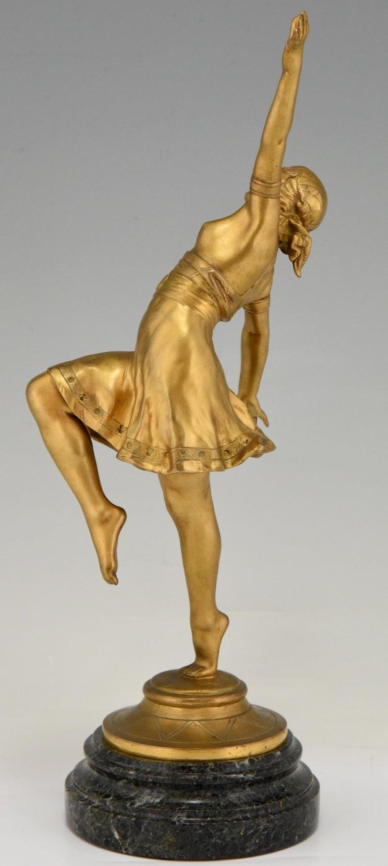 Early 20th Century Art Nouveau Bronze Sculpture Oriental Dancer Jean Garnier, France, 1900 For Sale
