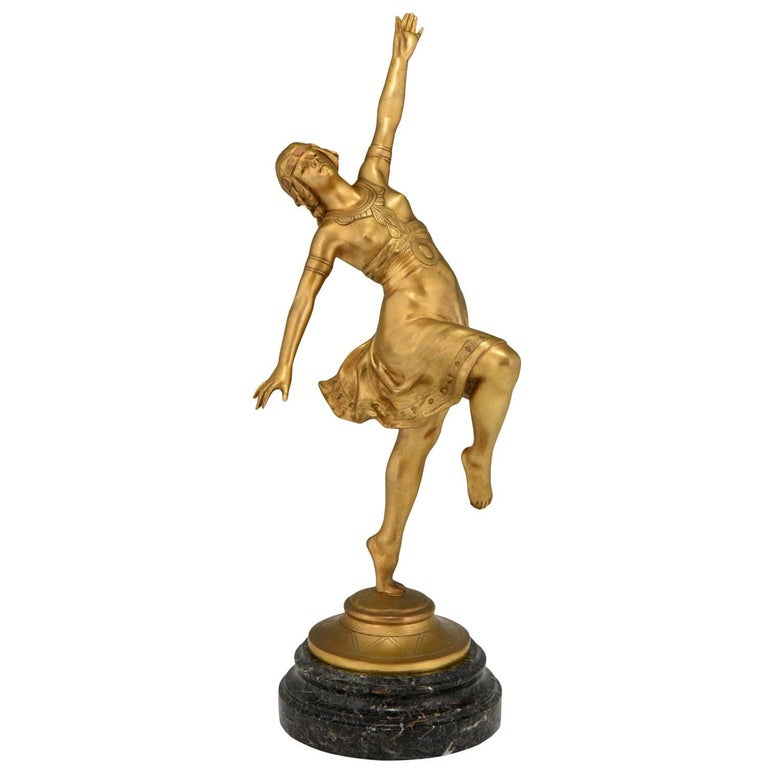 Art Nouveau Bronze Sculpture Oriental Dancer Jean Garnier, France, 1900 For Sale