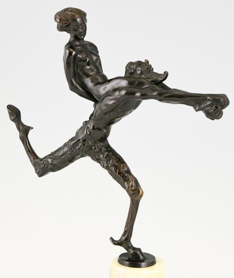 Art Nouveau Bronze Sculpture Satyr and Nude Hans Piffrader, ca. 1900 For Sale 4