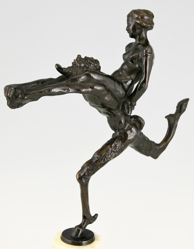 Art Nouveau Bronze Sculpture Satyr and Nude Hans Piffrader, ca. 1900 For Sale 5