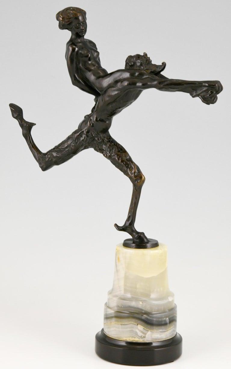 German Art Nouveau Bronze Sculpture Satyr and Nude Hans Piffrader, ca. 1900 For Sale