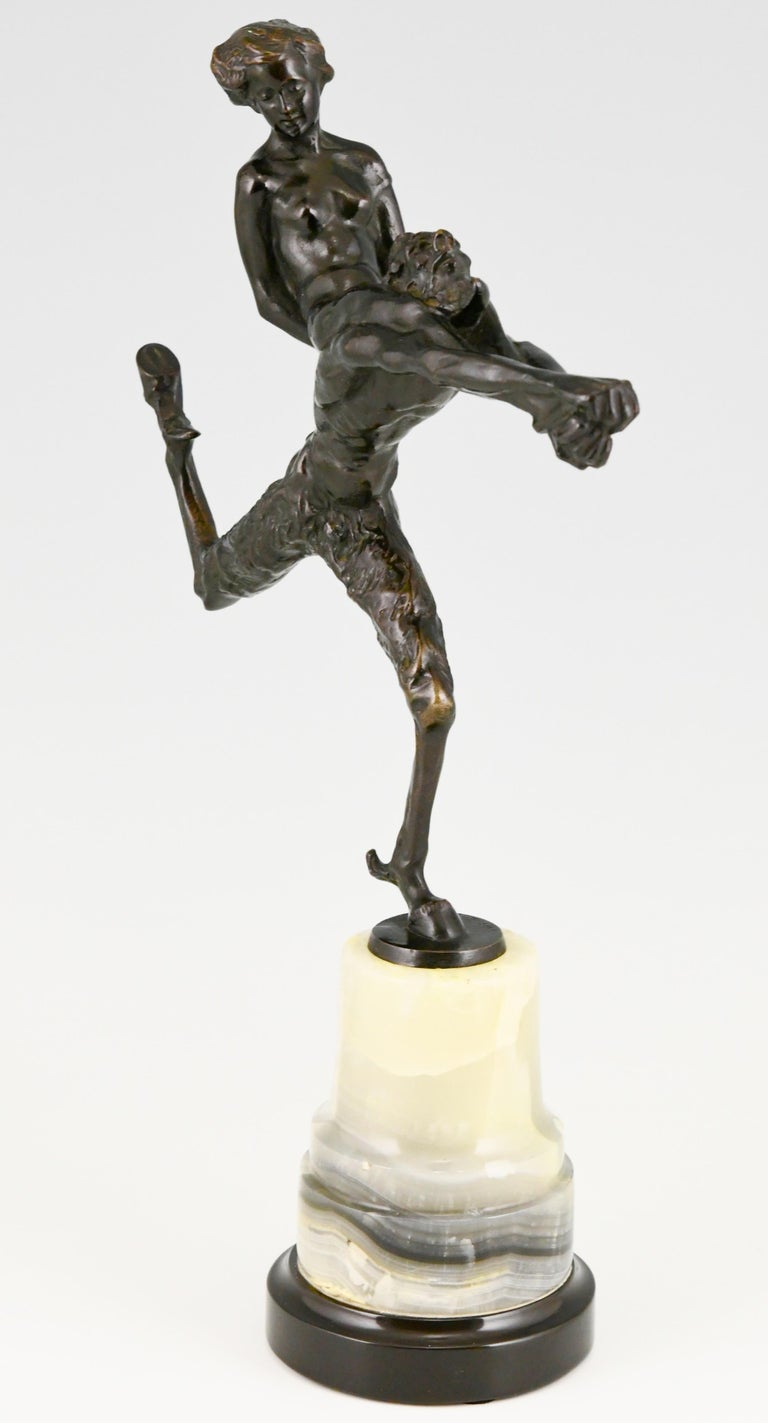 Patinated Art Nouveau Bronze Sculpture Satyr and Nude Hans Piffrader, ca. 1900 For Sale
