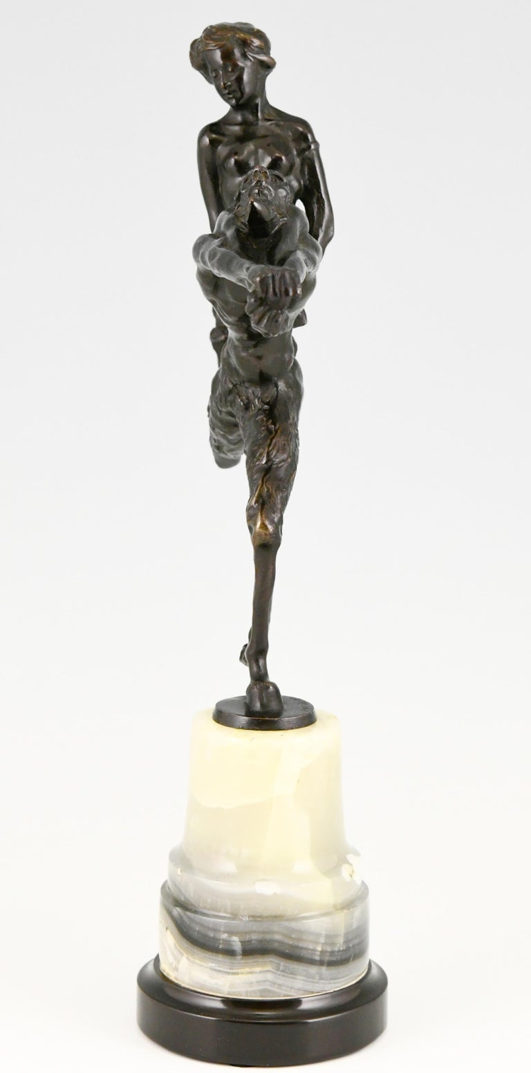 Art Nouveau Bronze Sculpture Satyr and Nude Hans Piffrader, ca. 1900 In Good Condition For Sale In Antwerp, BE