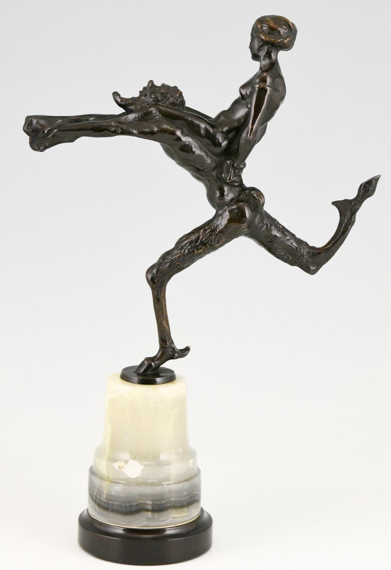 Marble Art Nouveau Bronze Sculpture Satyr and Nude Hans Piffrader, ca. 1900 For Sale