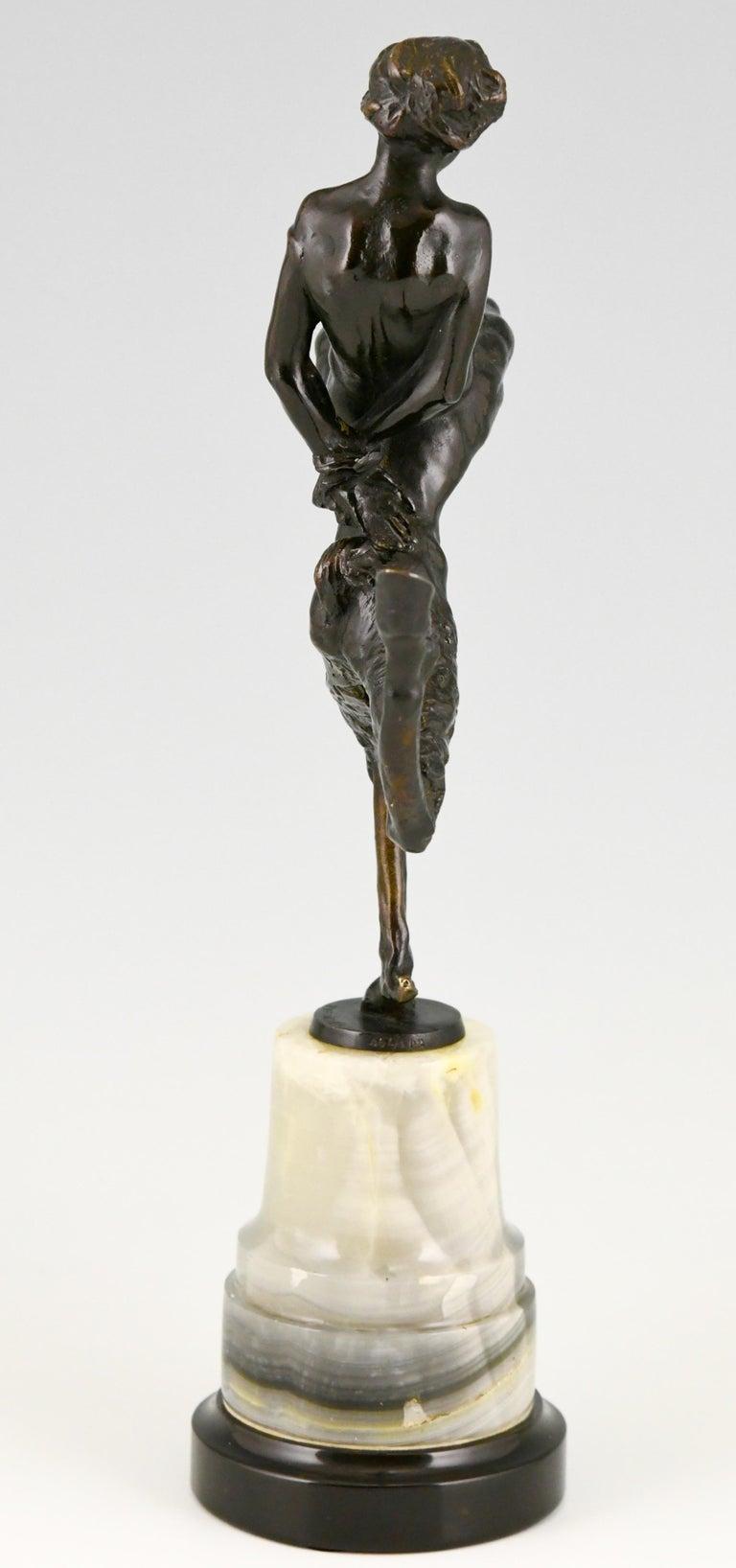 Art Nouveau Bronze Sculpture Satyr and Nude Hans Piffrader, ca. 1900 For Sale 2