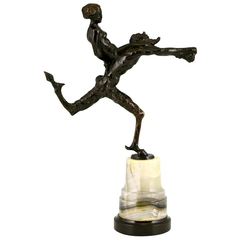 Art Nouveau Bronze Sculpture Satyr and Nude Hans Piffrader, ca. 1900 For Sale
