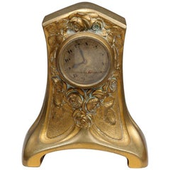 Art Nouveau Bronze Table Clock, France, circa 1920