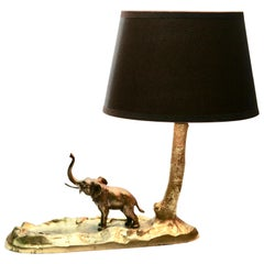 Art Nouveau Bronze Table Lamp and Coin Dish 'Vide Poche' with a Elephant