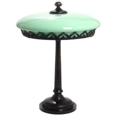 Art Nouveau Bronze Table Lamp with Mint Green Glass Screen
