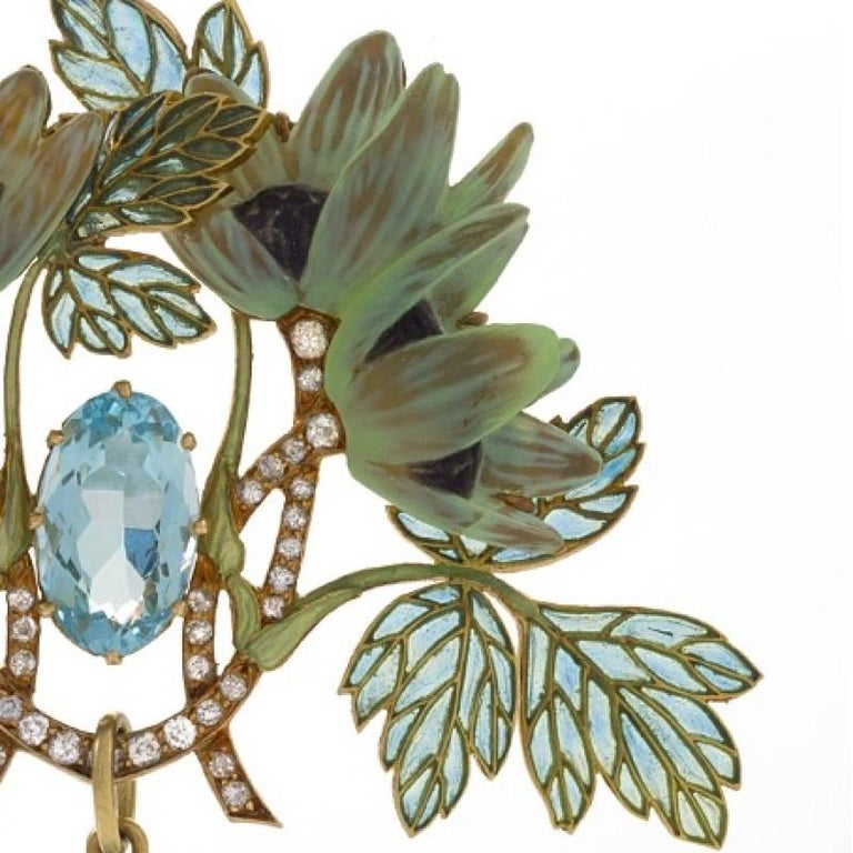 Women's Art Nouveau Brooch with Aquamarine, Diamond and Plique-à-Jour Enamel by Lalique For Sale