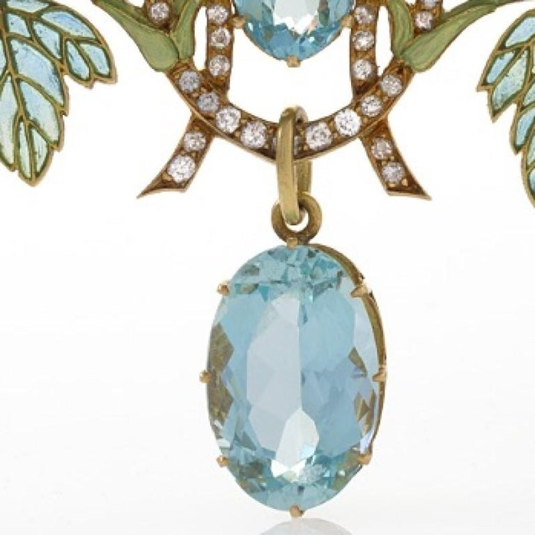 Art Nouveau Brooch with Aquamarine, Diamond and Plique-à-Jour Enamel by Lalique For Sale 1
