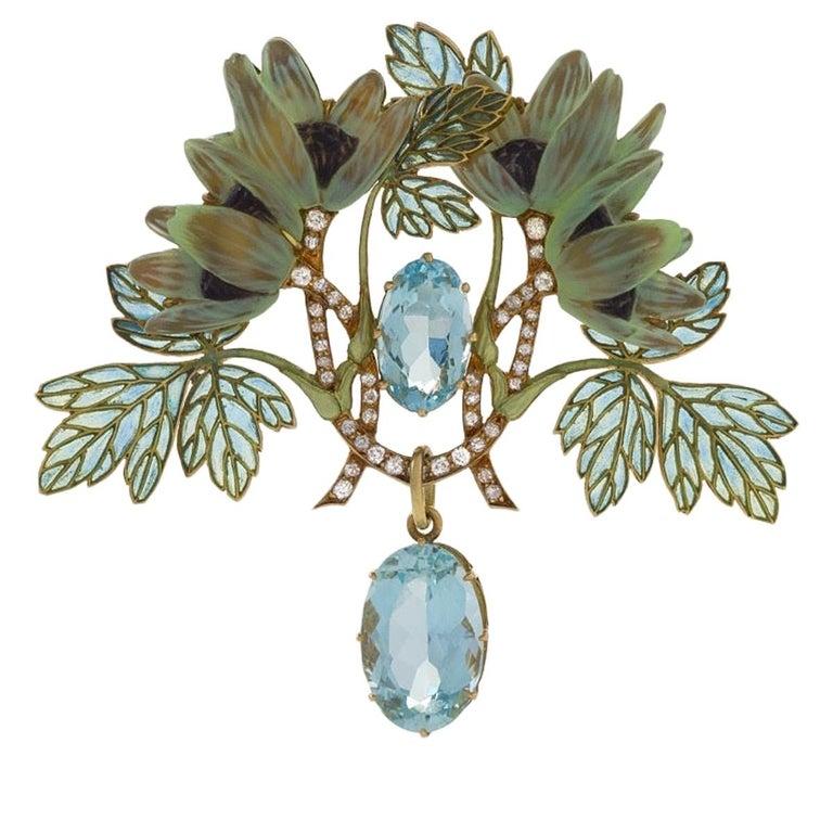 Art Nouveau Brooch with Aquamarine, Diamond and Plique-à-Jour Enamel by Lalique For Sale