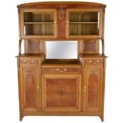 Art Nouveau Buffet/Cabinet, Oak and Elm Burl, France, circa 1910