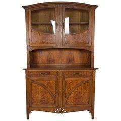 """Art Nouveau Buffet/Cabinet, Oak and Elm Burl, """"Quince"""", France, circa 1910"""