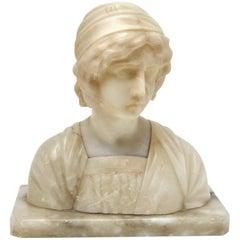 Art Nouveau Bust Alabaster, Italy, circa 1930