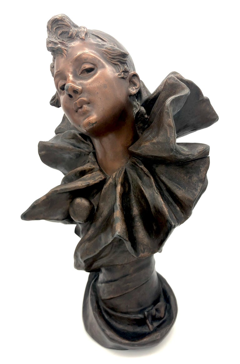 This wonderful expressive cast of a Pierrette, a female pierrot. Has been executed in France in the last decade of the 19th century. The sculpture is signed R. Allard.