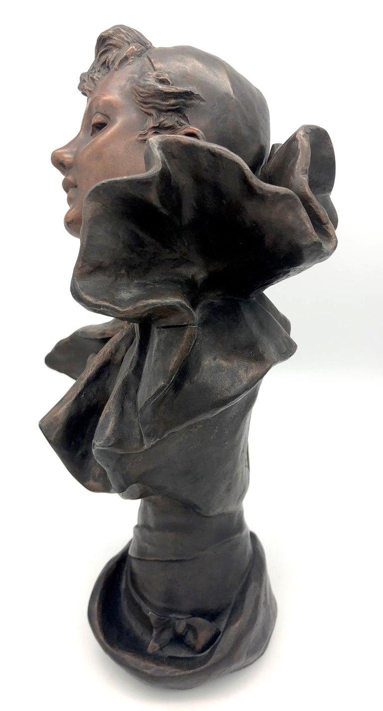 Cast Art Nouveau Bust of a Pierrette Female Pierrot For Sale