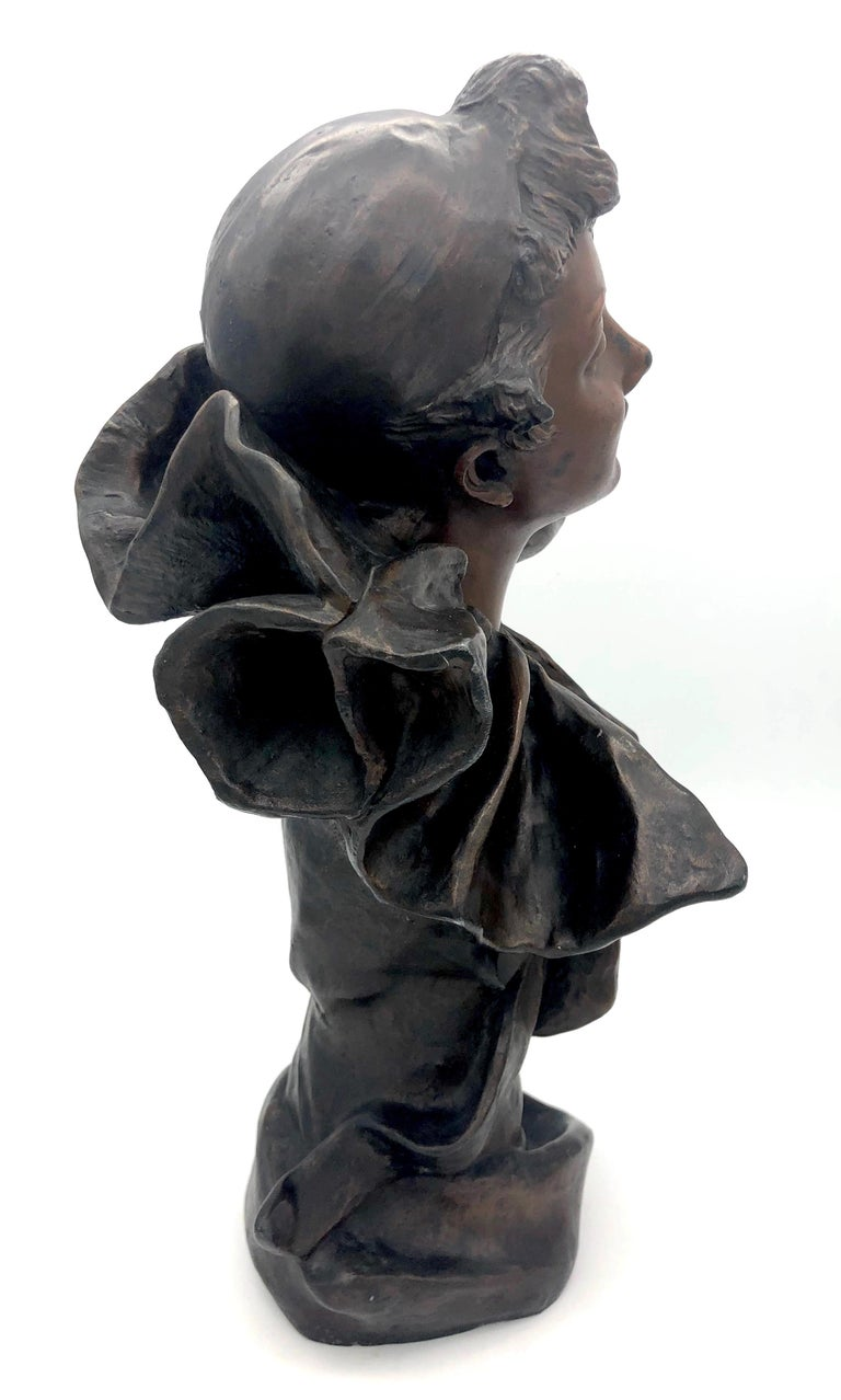 Metal Art Nouveau Bust of a Pierrette Female Pierrot For Sale