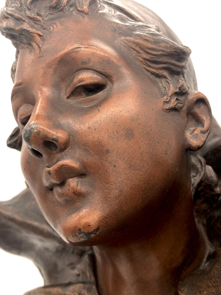Art Nouveau Bust of a Pierrette Female Pierrot For Sale 2