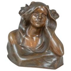 Art Nouveau Bust of a Young Beauty, Artist Signed, Austrian, circa 1910