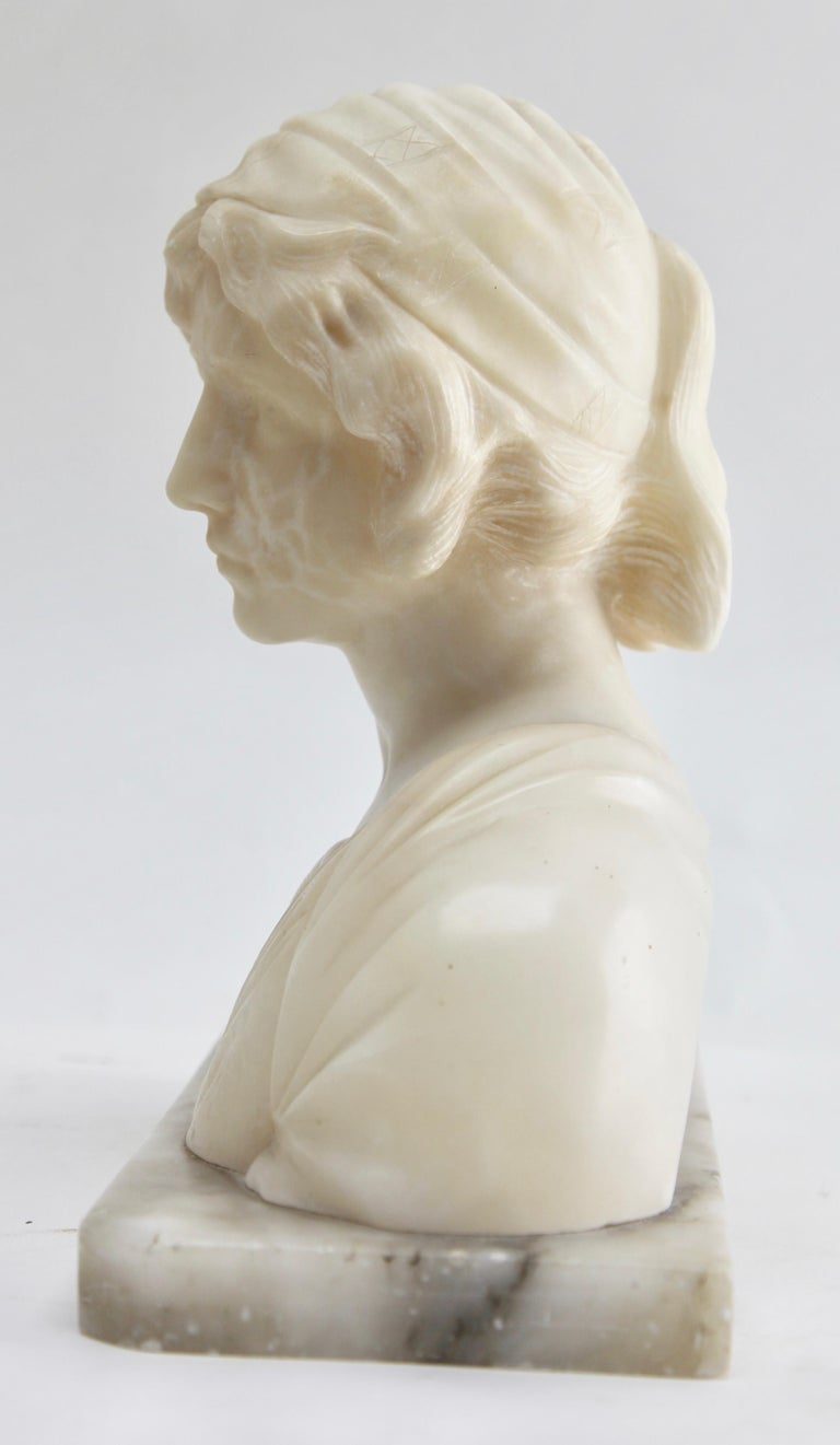 Hand-Carved Art Nouveau Bust of a Young Woman Alabaster, Italy, circa 1930 For Sale