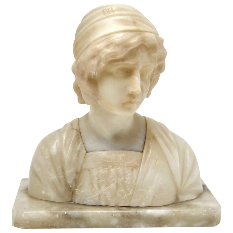 Art Nouveau Bust of a Young Woman Alabaster, Italy, circa 1930 For Sale