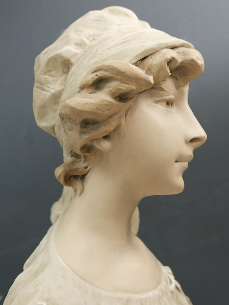 Art Nouveau Bust Young Girl France For Sale 3