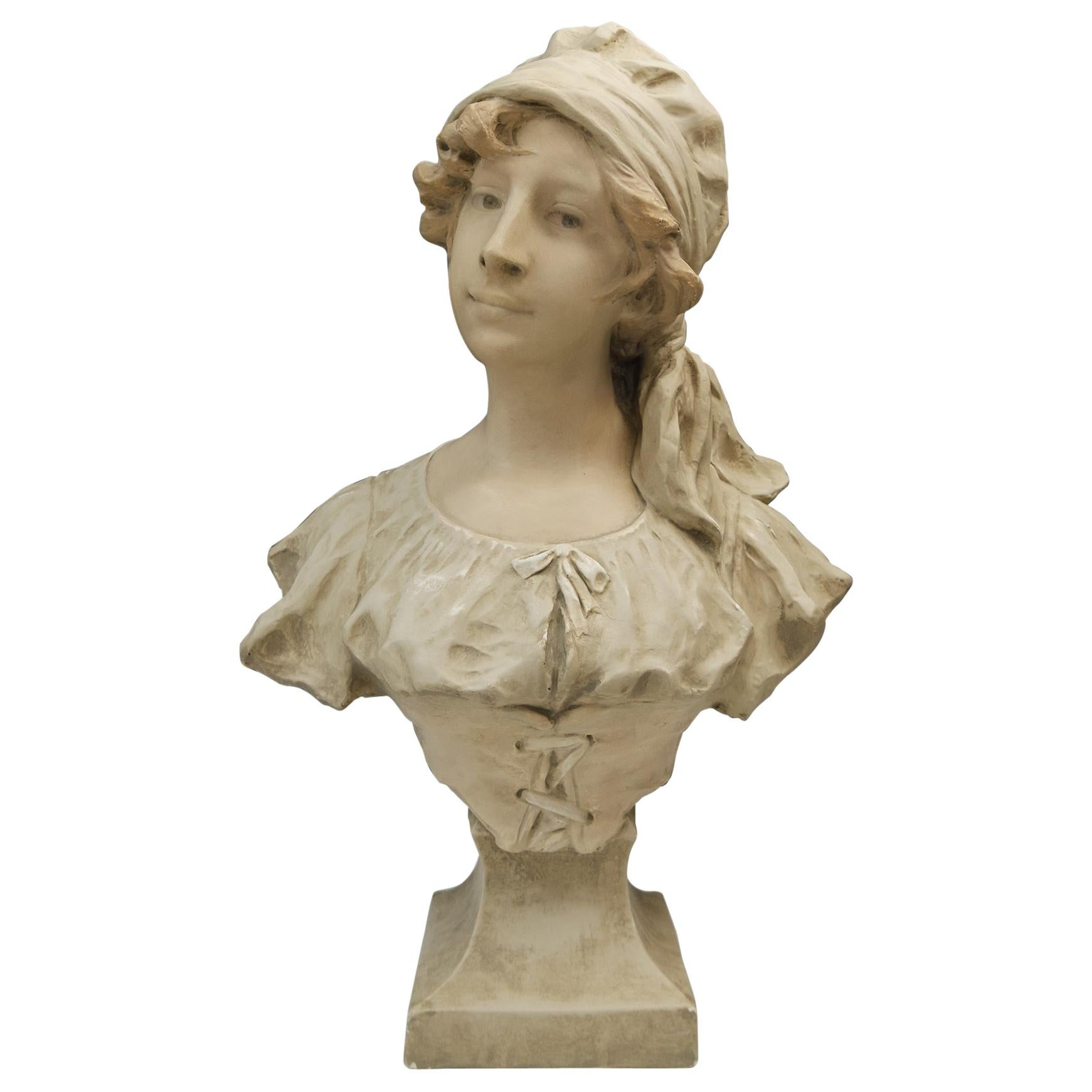 Art Nouveau Bust Young Girl France