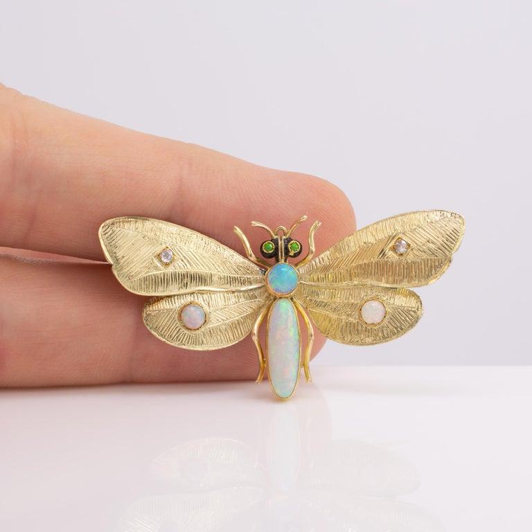 Round Cut Genuine Art Nouveau Opal Butterfly Brooch Diamonds Garnets 14 Karat Gold Signed For Sale