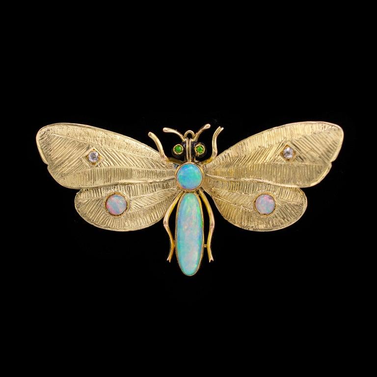 Genuine Art Nouveau Opal Butterfly Brooch Diamonds Garnets 14 Karat Gold Signed In Good Condition For Sale In Preston, Lancashire